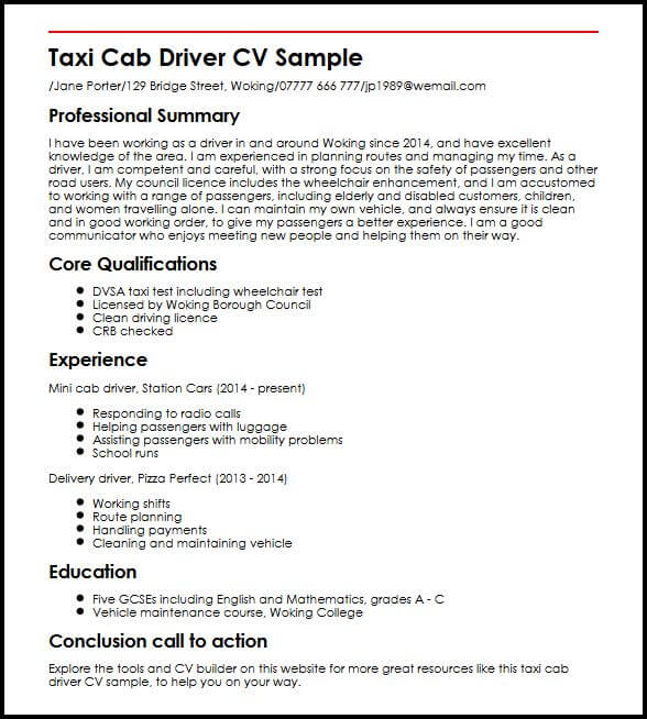 Taxi Cab Driver CV Sample MyperfectCV