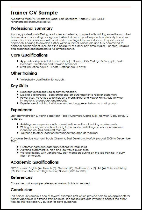 retail assistant job description cv