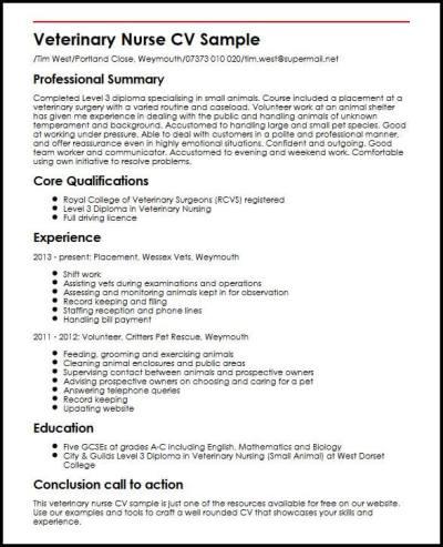 Veterinary Nurse CV Sample | MyperfectCV