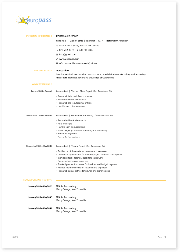 europass format cv sample