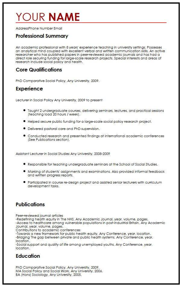 Academic CV Example MyperfectCV - academic resume example
