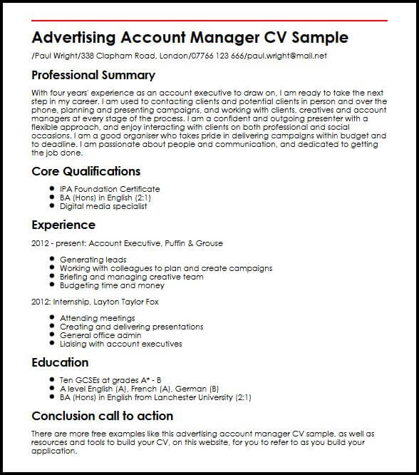 Advertising Account Manager CV Sample MyperfectCV