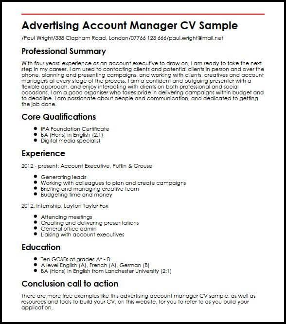 Advertising Account Manager CV Sample MyperfectCV