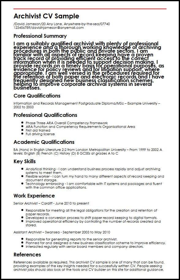 Archivist CV SampleMyperfectCV
