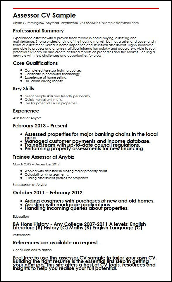 Assessor CV Sample MyperfectCV