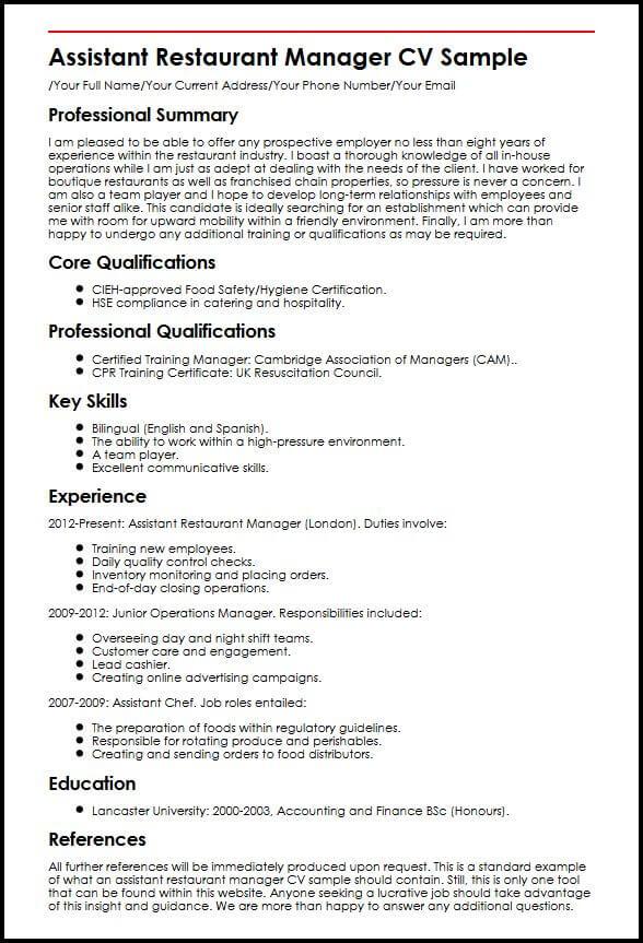 english cv assistant direction liste task