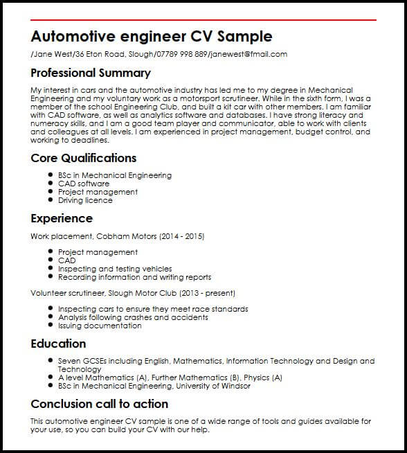 Automotive Engineer CV Sample MyperfectCV