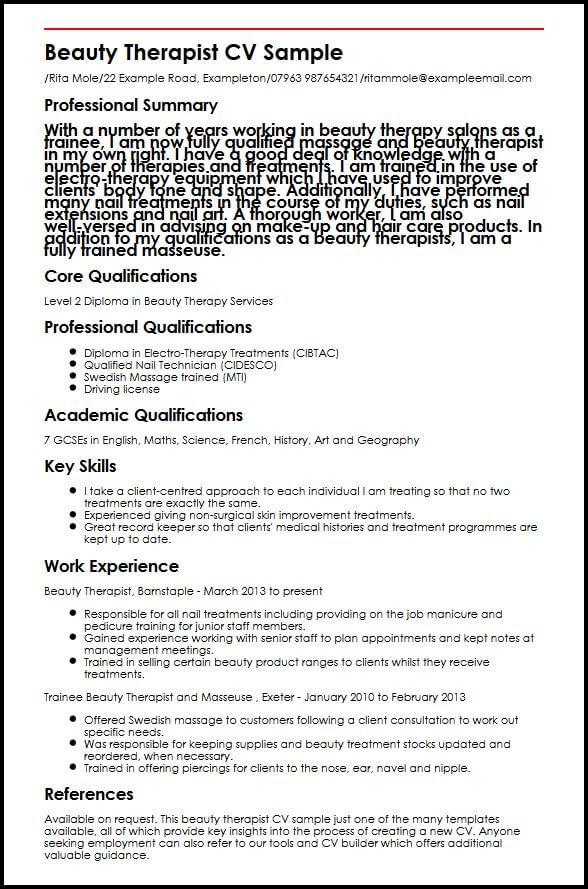Beauty Therapist CV Sample MyperfectCV