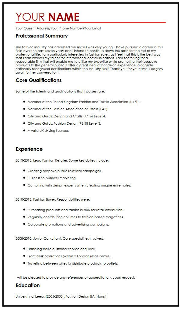 best example of cv format