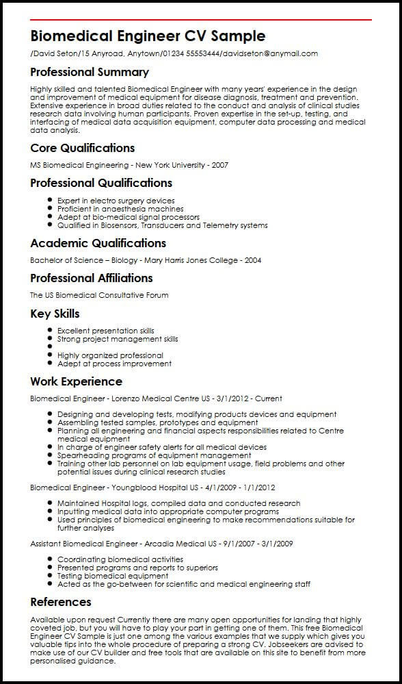 Biomedical Engineer CV Sample MyperfectCV