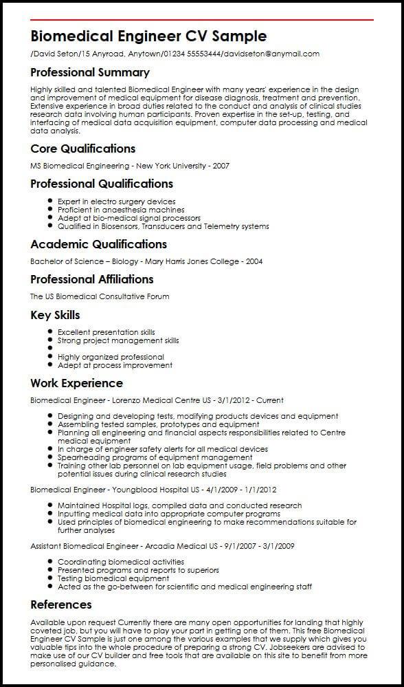 bioengineering resume examples