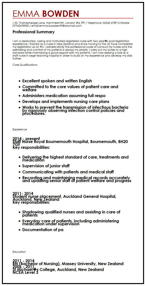 english uk cv example