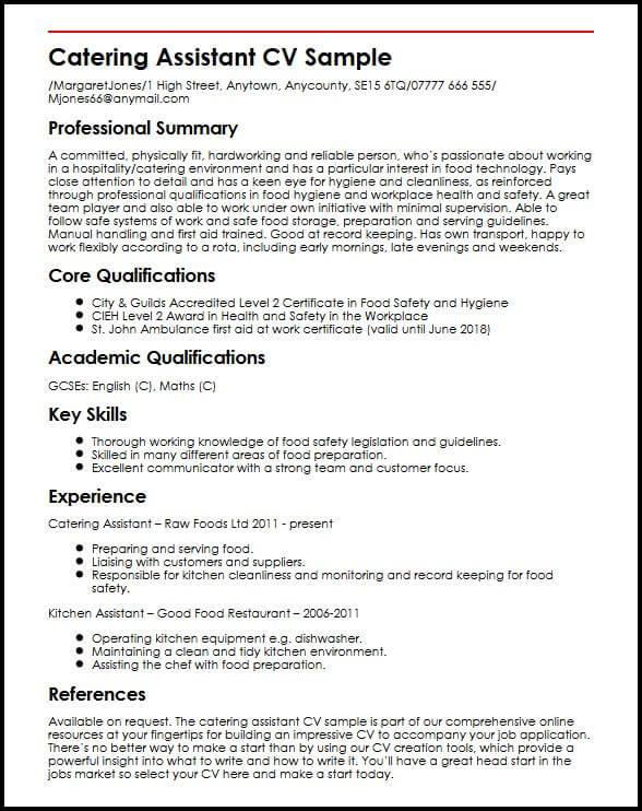 Catering Assistant CV sample MyperfectCV
