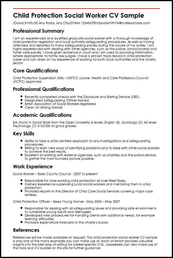Child Protection Social Worker CV Sample MyperfectCV