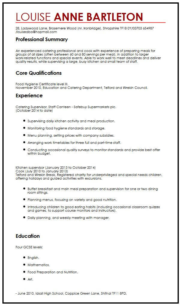 Chronological CV Example MyperfectCV