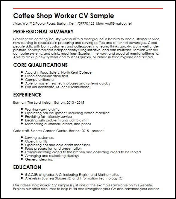 Coffee Shop Worker CV Sample MyperfectCV