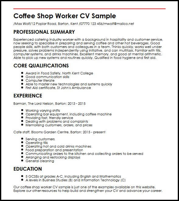cv for fast food shop job