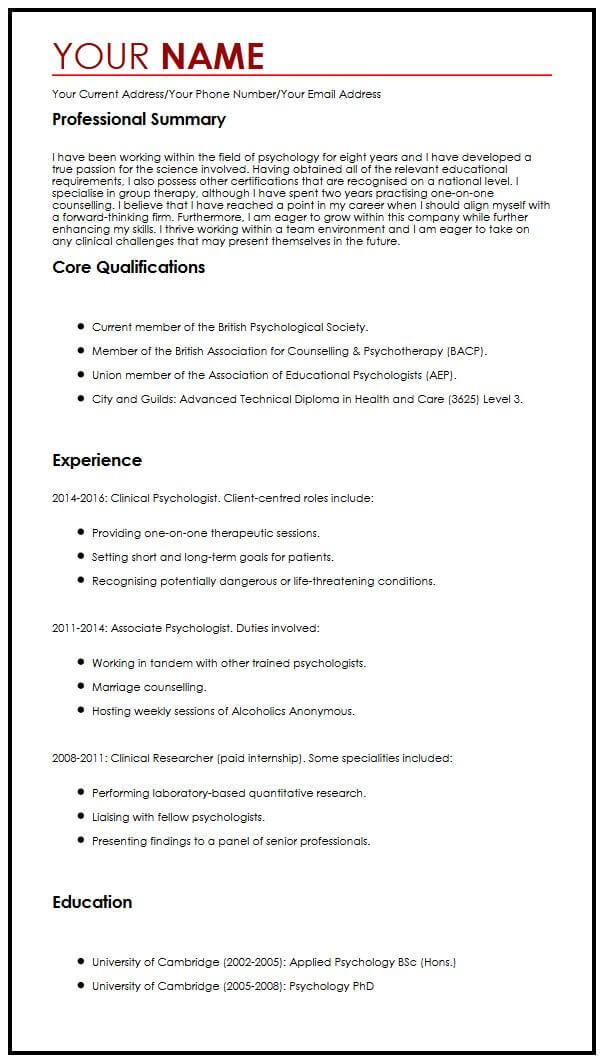 cv sample psychologist english