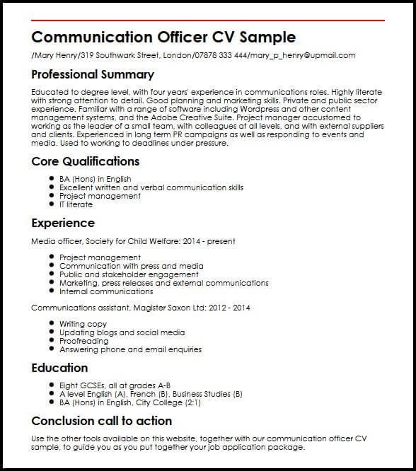 Communication Officer CV Sample MyperfectCV