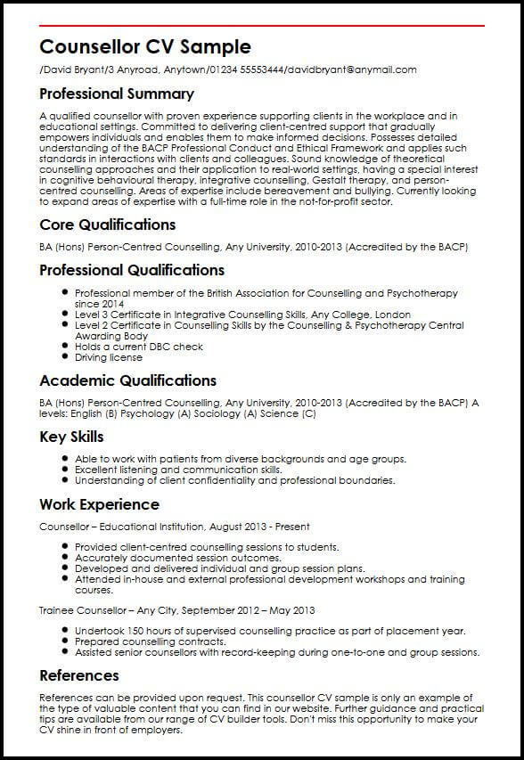 example of cv for a work placement