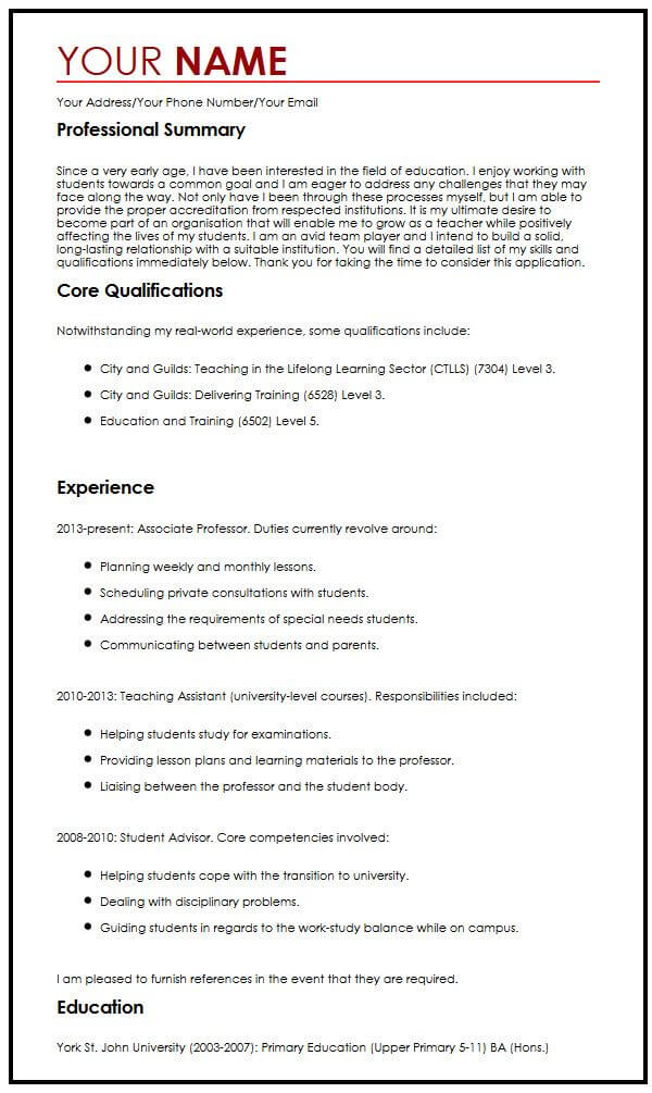 example of email to present cv