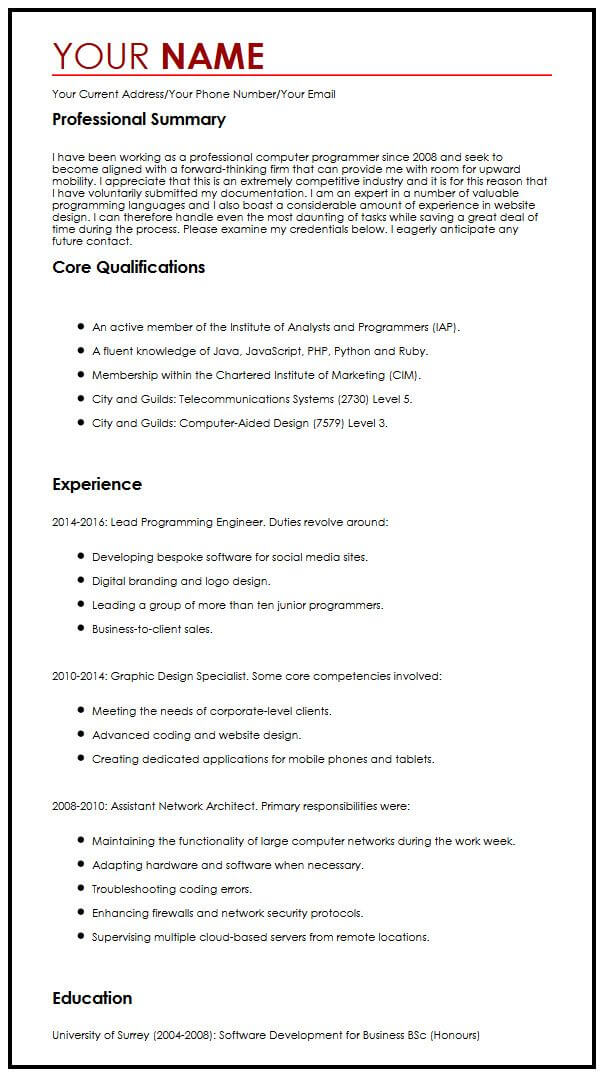 CV Example for a Summer Job MyperfectCV