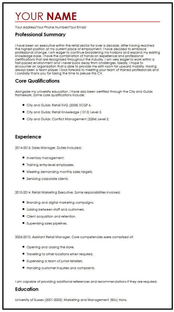CV Example for Executives MyperfectCV