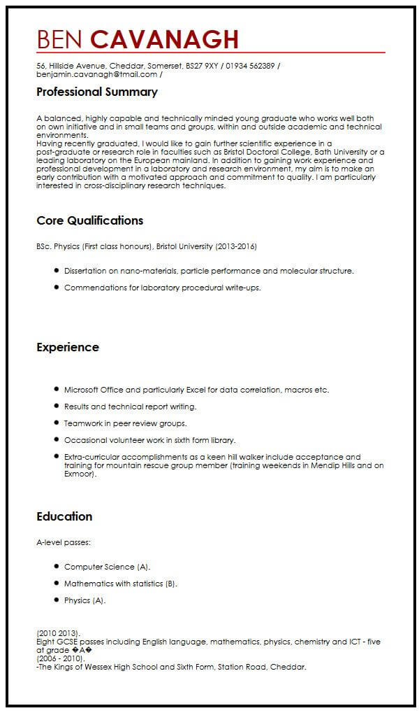 CV Example for Graduate Students MyperfectCV
