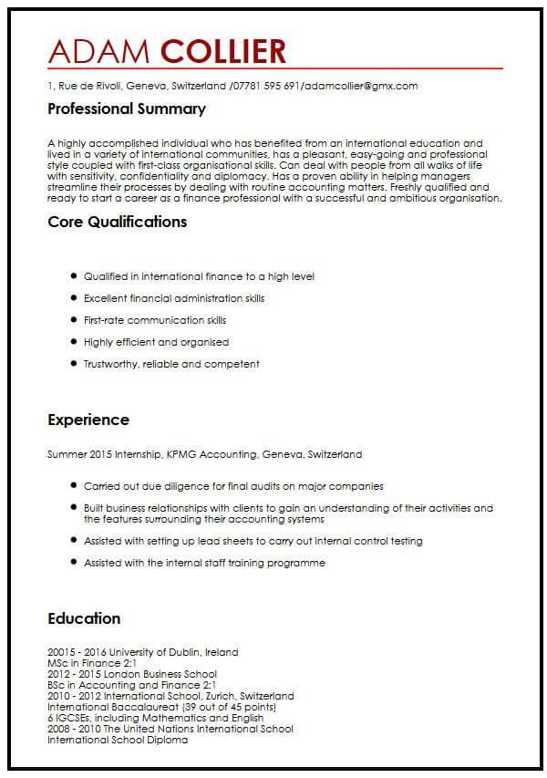 CV Example for International StudentsMyperfectCV