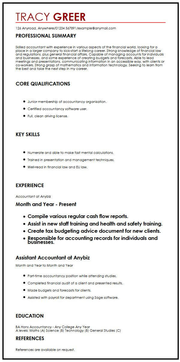 cv example uk internship