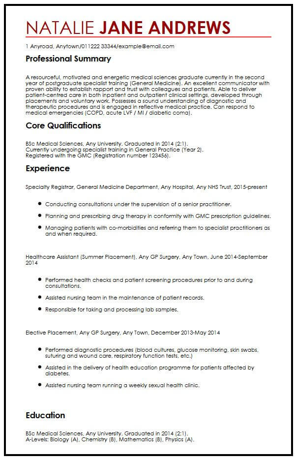 CV Example for Medical Students MyperfectCV