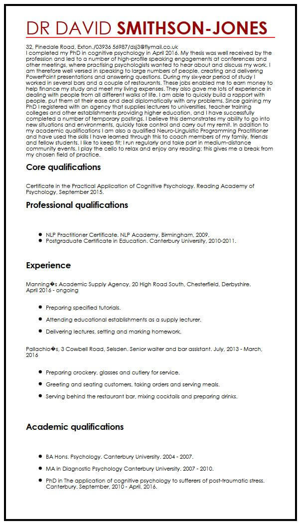 PhD holding candidates CV example MyperfectCV