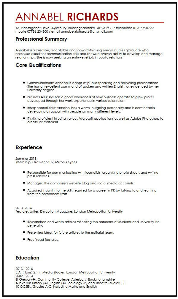CV Example for University StudentsMyperfectCV