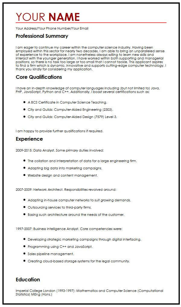 examples of resume for over 50