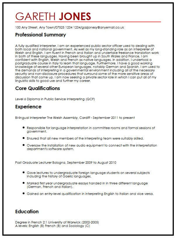 language skills cv example