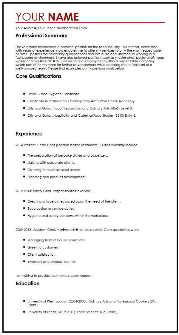cv for catering  supervisor resume sample resumes