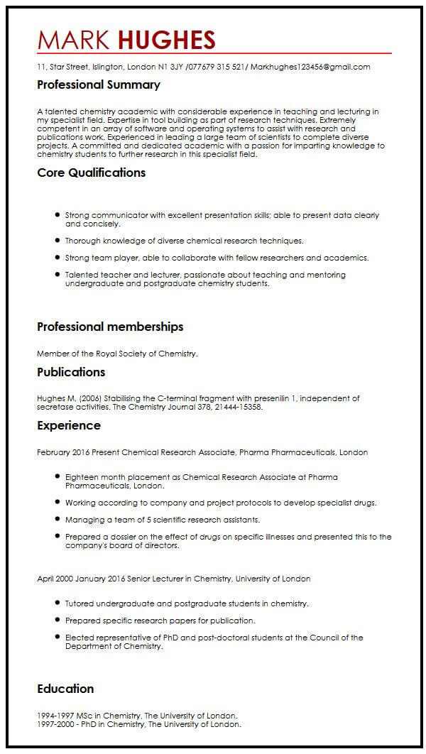 academic cv example publication
