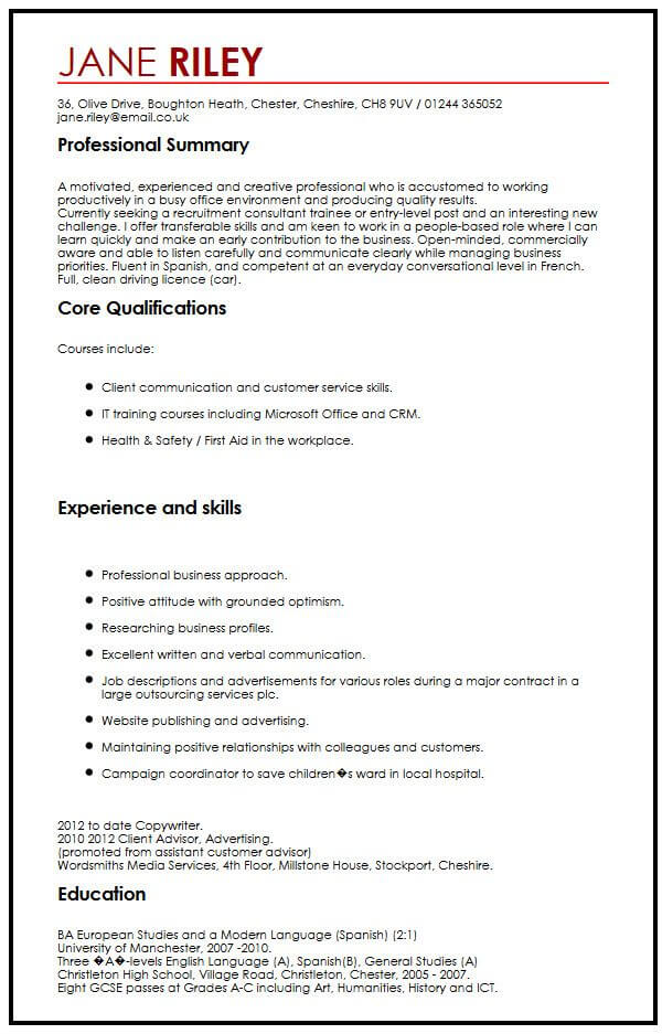 CV Example With Transferable Skills MyperfectCV