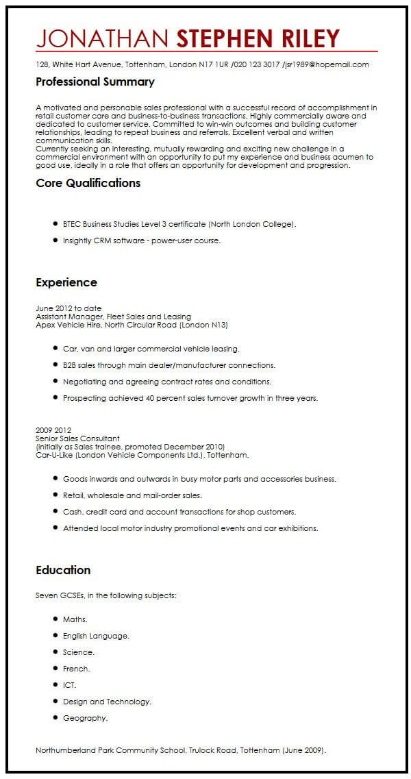 CV Sample For A Summer Job MyperfectCV
