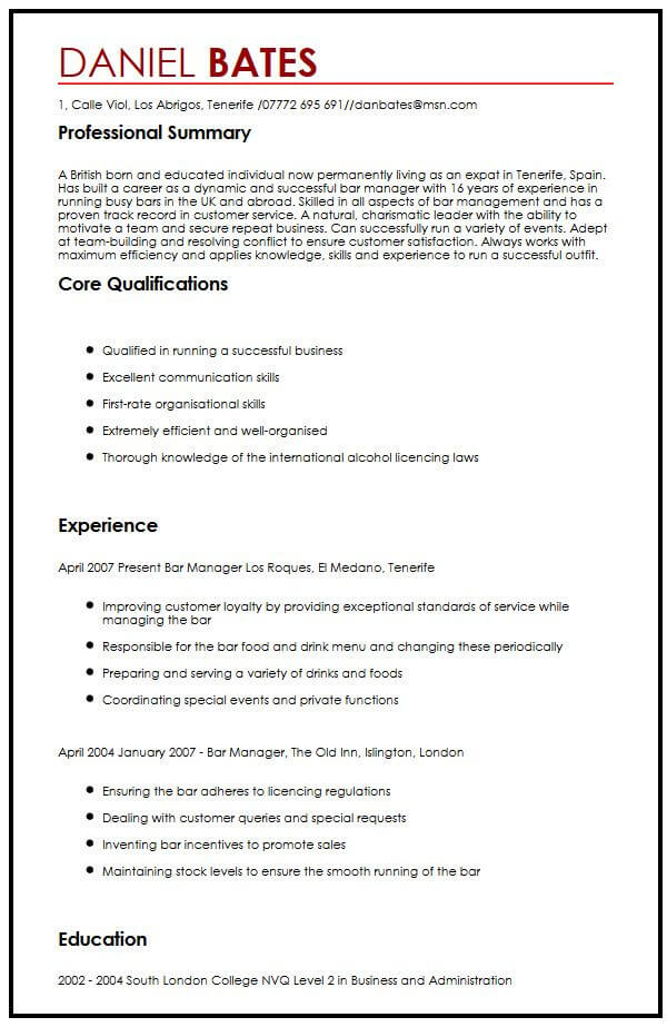 expat resume examples