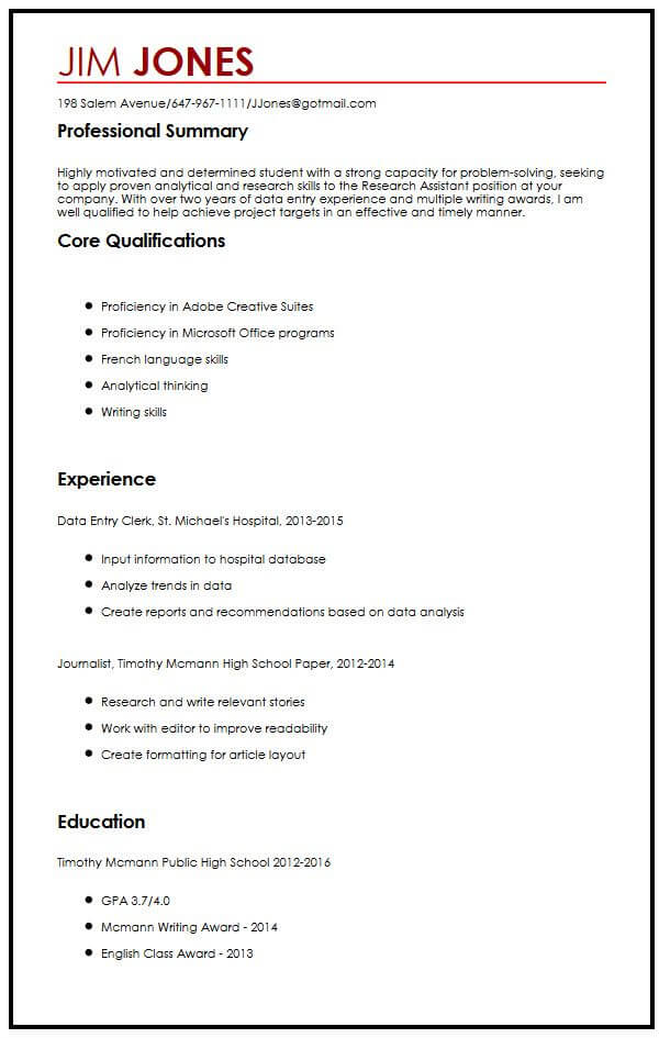 CV Sample for High School Students MyperfectCV