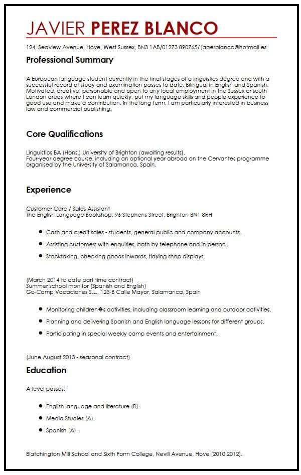 english cv samples word
