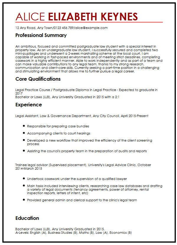 CV Sample for Law Students MyperfectCV