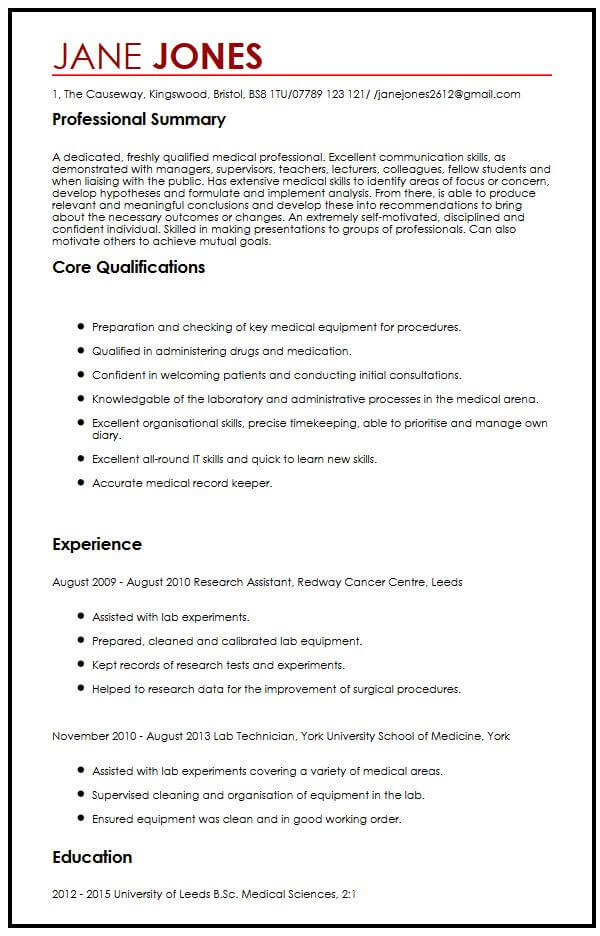 CV Sample for Medical StudentsMyperfectCV