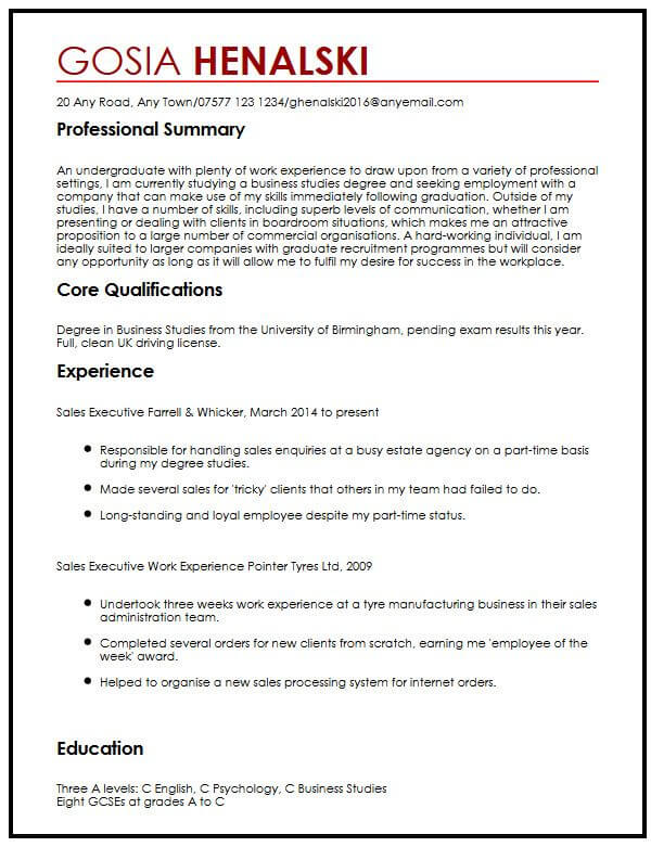 CV Sample for University Students MyperfectCV