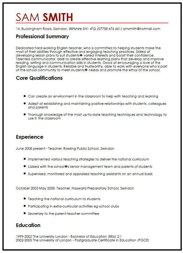 CV Sample in EnglishMyperfectCV