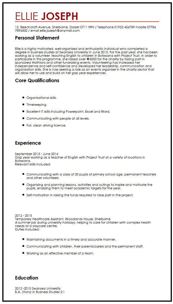 CV Sample With Gap Year MyperfectCV