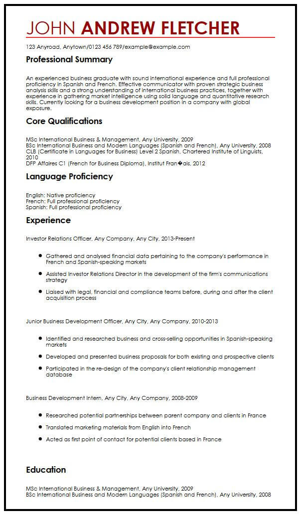 english language skills levels cv