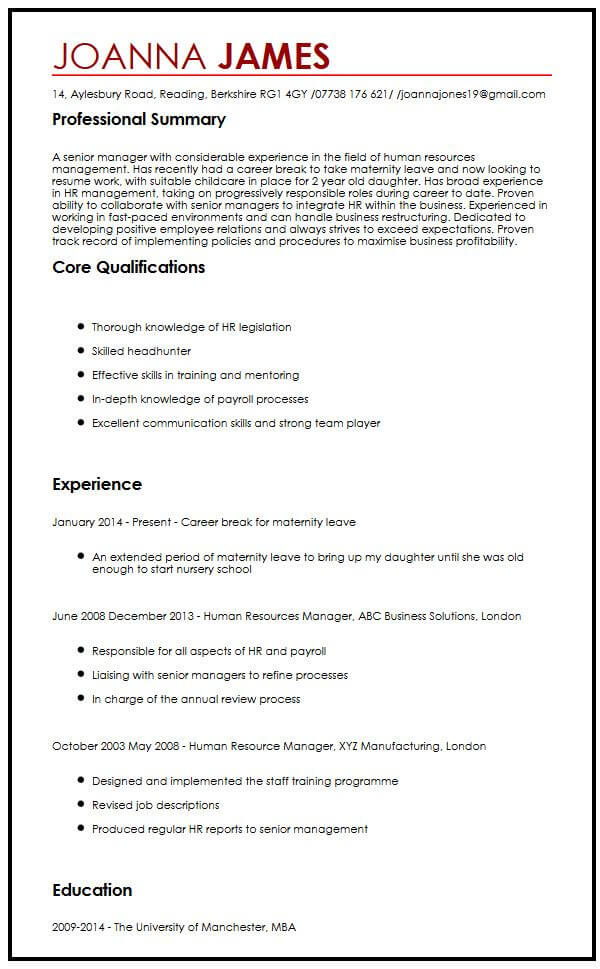 CV Sample With Maternity LeaveMyperfectCV