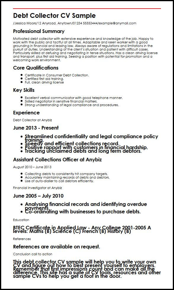 Debt Collector CV Sample MyperfectCV